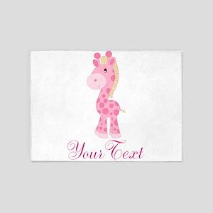 Personalizable Pink Giraffe 5'x7'Area Rug