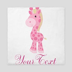 Personalizable Pink Giraffe Queen Duvet
