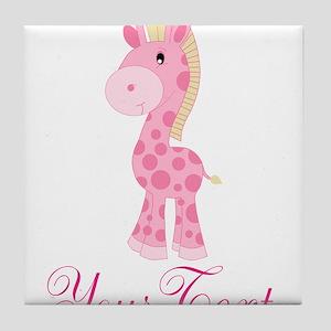 Personalizable Pink Giraffe Tile Coaster