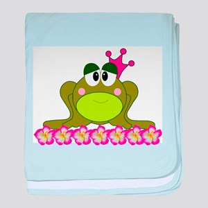 Sweet Pink and Green Frog Princess baby blanket