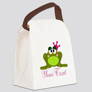 Personalizable Pink and Green Frog Canvas Lunch Ba