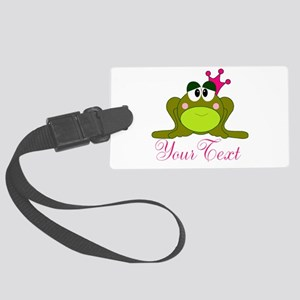 Personalizable Pink and Green Frog Luggage Tag