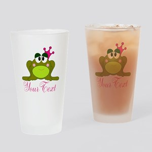 Personalizable Pink and Green Frog Drinking Glass