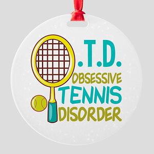 Funny Tennis Round Ornament
