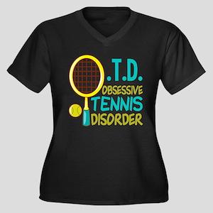 Funny Tennis Women's Plus Size V-Neck Dark T-Shirt