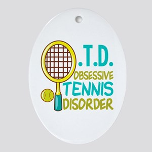 Funny Tennis Oval Ornament