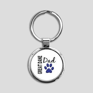 Great Dane Dad 2 Round Keychain