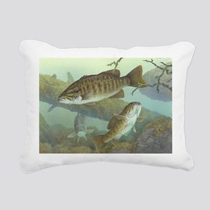 underwater bass fishing Rectangular Canvas Pillow