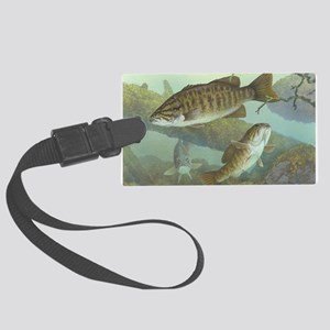 underwater bass fishing Large Luggage Tag