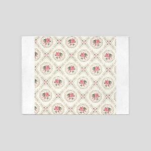 Vintage Floral Arrangements Pattern 5'x7'Area Rug