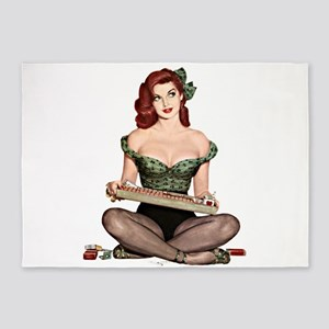 Red Head Waitress Pin Up Girl 5'x7'Area Rug