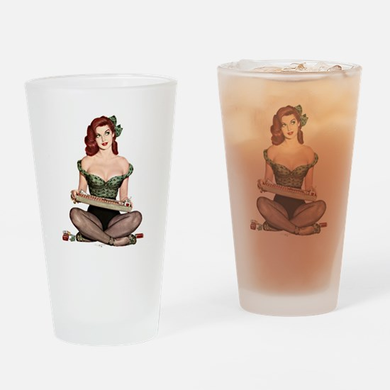 Red Head Waitress Pin Up Girl Drinking Glass