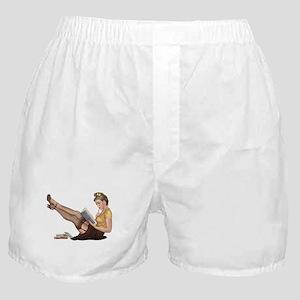 Librarian Student Pin Up Girl Boxer Shorts