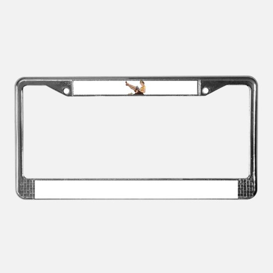 Librarian Student Pin Up Girl License Plate Frame