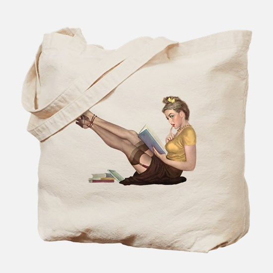 Librarian Student Pin Up Girl Tote Bag