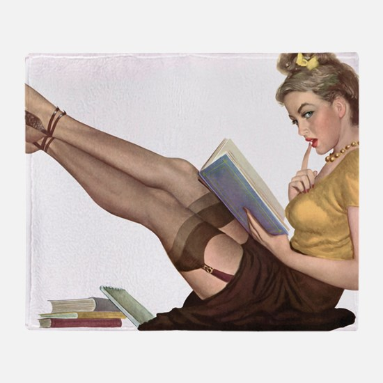 Librarian Student Pin Up Girl Throw Blanket