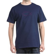 Magenta Christian Faith Fish Dark T-Shirt