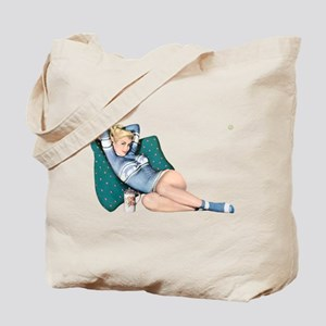 Cabin Cottage Mountain Chic Pin Up Girl Tote Bag