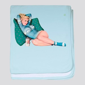 Cabin Cottage Mountain Chic Pin Up Girl baby blank