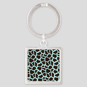 Blue and Brown Giraffe Animal Print Keychains