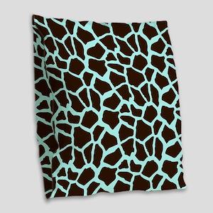 Blue and Brown Giraffe Animal Print Burlap Throw P