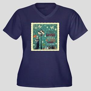 Stars Women's V-Neck Dark Plus Size T-Shirt