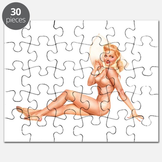 Summer Swimsuit Blonde Pin Up Girl Puzzle