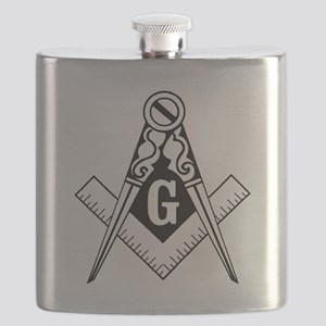 Square and Compass Black and White with Deta Flask