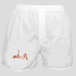 Blonde Floral Lingerie Pin Up Girl Boxer Shorts