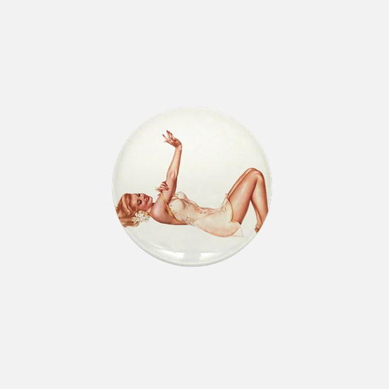 Blonde Floral Lingerie Pin Up Girl Mini Button (10