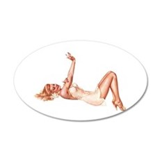 Blonde Floral Lingerie Pin Up Girl Wall Decal