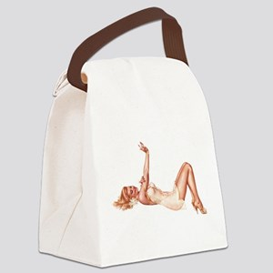 Blonde Floral Lingerie Pin Up Girl Canvas Lunch Ba