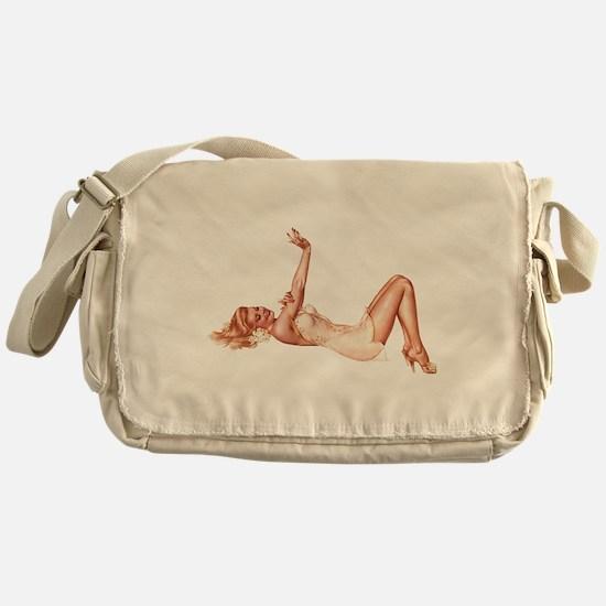 Blonde Floral Lingerie Pin Up Girl Messenger Bag
