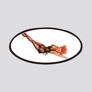 Red Head Black Lingerie Pin Up Girl Patches