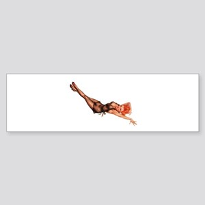 Red Head Black Lingerie Pin Up Girl Bumper Sticker