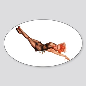 Red Head Black Lingerie Pin Up Girl Sticker