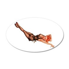 Red Head Black Lingerie Pin Up Girl Wall Decal