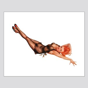 Red Head Black Lingerie Pin Up Girl Posters
