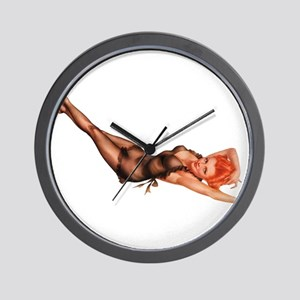 Red Head Black Lingerie Pin Up Girl Wall Clock