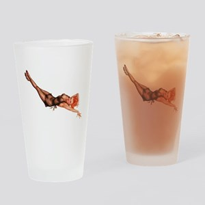 Red Head Black Lingerie Pin Up Girl Drinking Glass