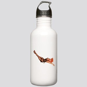 Red Head Black Lingerie Pin Up Girl Water Bottle