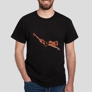 Red Head Black Lingerie Pin Up Girl T-Shirt