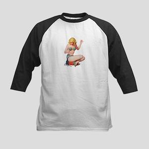 Blonde Green Bikini Pin Up Girl Baseball Jersey
