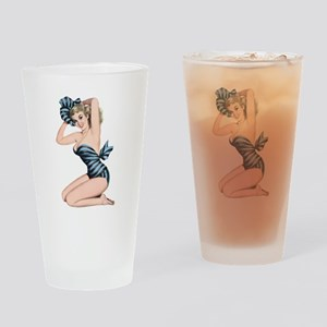 Black Blue Striped Summer Bikini Pin Up Girl Drink