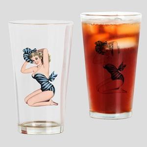 Black Blue Striped Summer Bikini Pin Up Girl Drink
