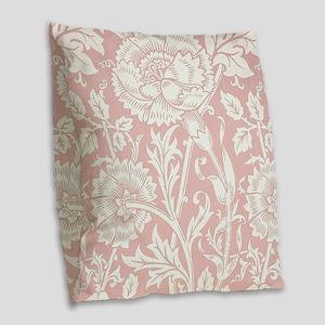 William Morris Pink and Rose Burlap Throw Pillow