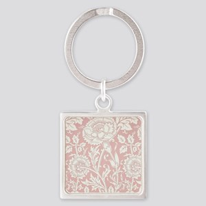 William Morris Pink and Rose Square Keychain