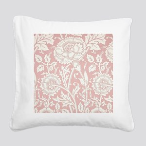 William Morris Pink and Rose Square Canvas Pillow