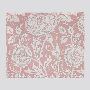 William Morris Pink and Rose Throw Blanket