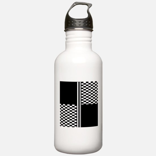Black and white striped check Water Bottle